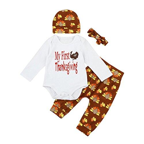 Baby-Danksagungs-Satz, neugeborene Kind-Baby-Mädchen-Jungen-Buchstabe-Druck-Ausstattungs-Kleidung 4Pcs Spielanzug + die Türkei-Hosen eingestellt Simonabo (6M, Weiß)