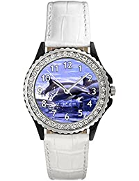 Delfines Reloj del cuero para mujer con piedrecillas