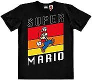 Logoshirt®️ Super Mario Salto Camiseta ecológico Estampado para niños I Negro Cuello Redondo de Manga Corta I
