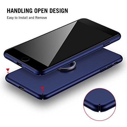 iPhone 7 Plus Hülle, RANVOO Extra Dünn Hard Ultra Slim Case aus Plastik Material Anti-Kratzer Anti-Fingerabdruck Leicht Schale Voller Schutz für iPhone 7 Plus Schwarz, [TOUGH005] Dunkelblau+Ring