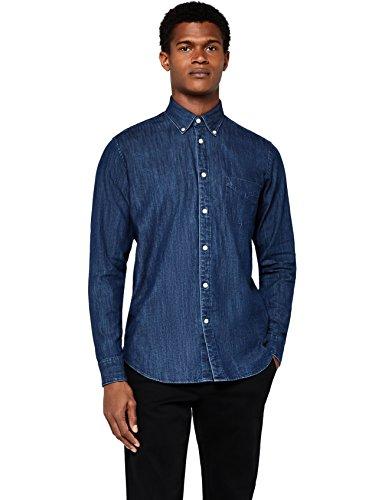 Meraki camicia di jeans a manica lunga slim fit uomo, blu (dark blue), x-small