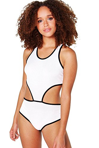 blanc Hommes Nicole Contrast Coupe Out Rib Bodysuit Blanc