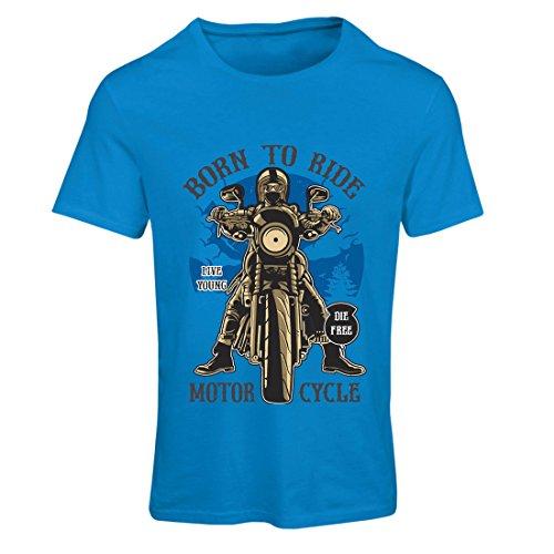 Frauen T-Shirt Live Young - Die Free - geboren, Motorrad zu Fahren, Geschenkideen für Biker, inspirierende Slogans (X-Large Blau Mehrfarben)