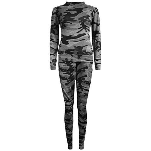 Janisramone Da Donna Nuovo Tinta Unita Maglia Tuta Ragazzo, con stampa mimetica da donna Jogsuit Grey Camouflage
