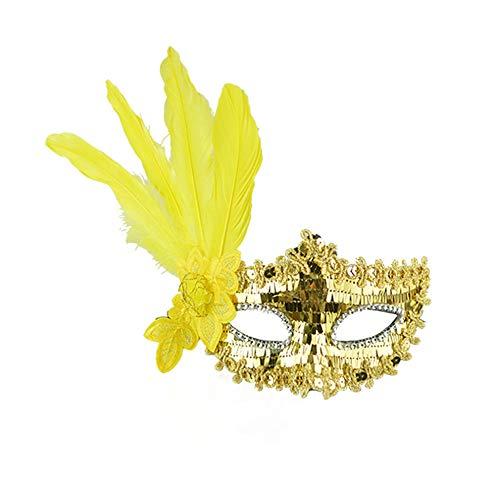 Jkhhi Masken Sexy Feder Pailletten Elegante Augenmaske Maskerade Ball Karneval Phantasie Party Paillettenbestickte Maske mit Federstreifen