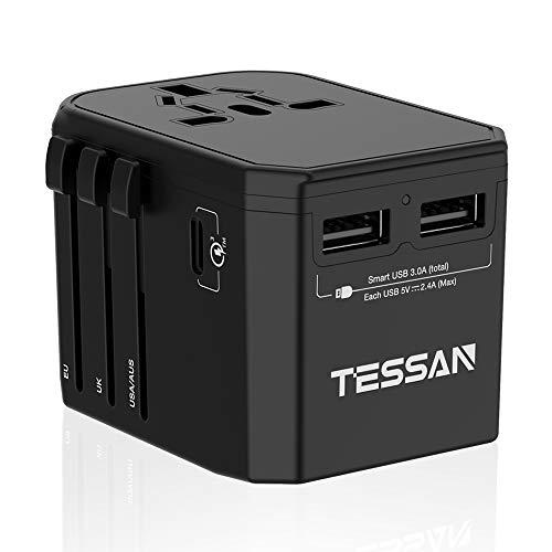 TESSAN Universal Reiseadapter Reisestecker Weltweit mit 2 USB und 18W USB C, Steckdosenadapter 100V-240V, Stromadapter für 150 Ländern USA/China/England/Europa/Italien/Thailand usw, 2 Sicherung(8A) (Strom-led Usa)