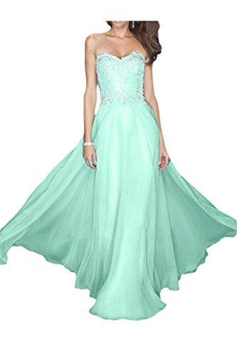 Toscana sposa Elegant Chiffon sera a forma di cuore con sposa giovane punta, vestiti dal Party ball vestimento Minze Gruen