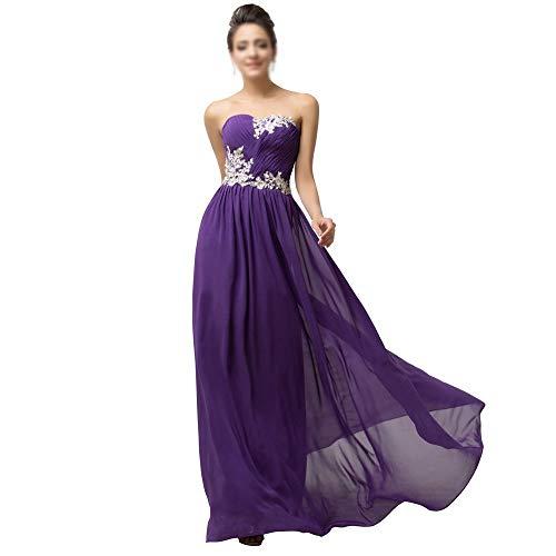 Frauenkleid Formale Rüschen Kleid Damenmode Kristall Diamant von der Schulter Abendkleid (Farbe : Lila, Size : US16) (Kleid Lila Schulter Von Der)