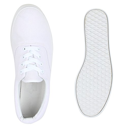 Herren Sneakers Slip-Ons | Sportliche Schnürer | Slipper Flats Sneaker | Stoffschuhe Weiß