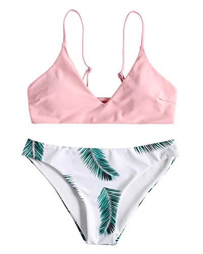 ZAFUL Damen Gepolsterter Bikini Set Bademode Badeanzug mit Blatt Pattern Zweiteilig Rosa Small