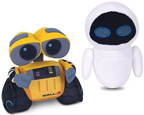 "Image of Disney Pixar WALL-E and EVE Collectable (5"") Plush Buddies by Thinkway Toys"