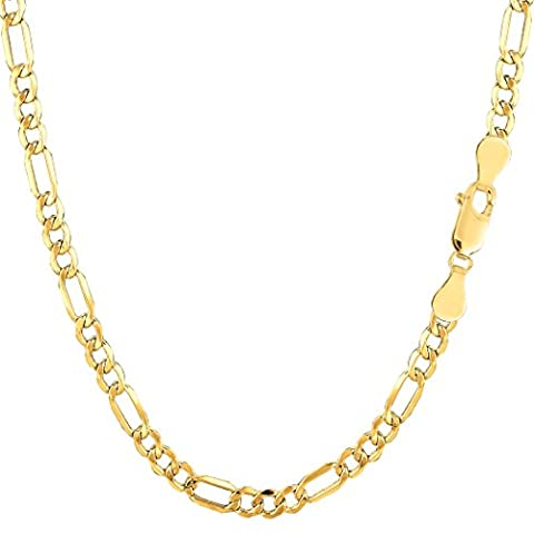 10k Yellow Gold Hollow Figaro Chain Necklace, 3.5mm, 18