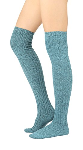 STYLEGAGA Women's Over The Knee High Boot Socks One Size: Xs To M Cozy Cable_Blue