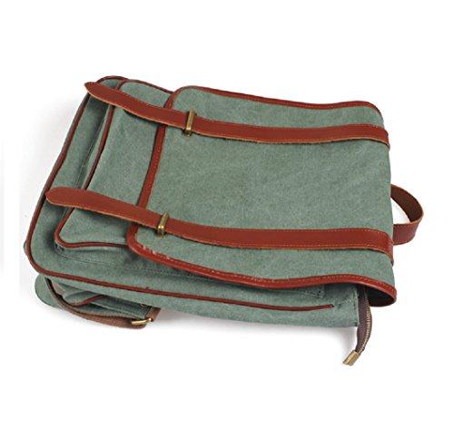 Fashion Plaza Unisex Vintage hipster Rucksack Alltagbag Alltagrucksack Schultasche Canvas mit Leder 14 Zoll Laptop Tasche C5111 (Grün2) Grün2