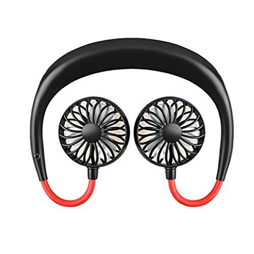 Neck-Mounted Fan, tragbarer USB-wiederaufladbarer Neckband-fauler Hals-Hängender Stil Doppelkühlender Mini-Ventilator 3 Geschwindigkeit für das Reisen im Freien sports Büroraum (Schwarz)