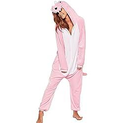 Pijama Kigurumi - Pijama de Animal con Capucha para Adultos - Ropa de Dormir y Traje de Disfraz de Animal para Festival de Carnaval y Halloween, Rosa, S