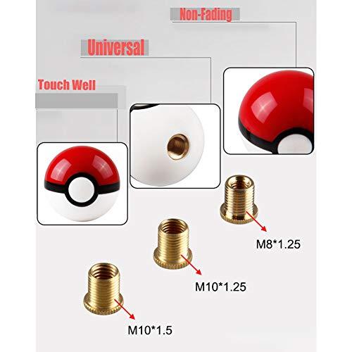 JINGLING 54 MM Pokemon Pokeball Ball Schaltknauf Stick Schaltknauf Kunststoff MT AT Schaltknauf Kopf Universal Custom Car Zubehör 3 Arten Adapter 1 Stück