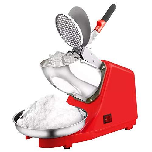 FSGD Elektrische Ice Crusher Shaver Schnee-Kegel-Hersteller-Maschine 187 lbs/hr für Haus und gewerbliche, Nutzung Edelstahl Doppelmesser(Red)