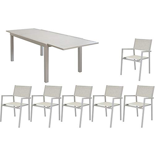 MilaniHome Set Tavolo Giardino Rettangolare Allungabile 200/300 X 100 con 6 Poltrone in Alluminio E Textilene Tortora da Esterno