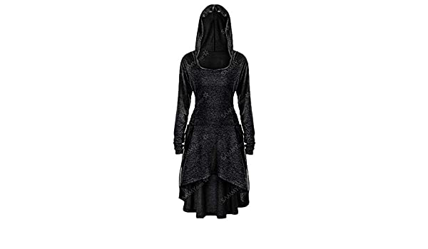 9cb5268fe5e DianShaoA Women Halloween Dresses Cosplay Costume Party Wear Witch Suit  Hooded Long Dresses Black S  Amazon.co.uk  Clothing