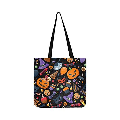 Halloween Party Bunte Leinwand Tote Handtasche Schultertasche Crossbody Taschen Geldbörsen Für Männer Und Frauen Einkaufstasche
