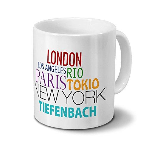Städtetasse Tiefenbach - Design Famous Cities of the World - Stadt-Tasse, Kaffeebecher, City-Mug, Becher, Kaffeetasse - Farbe Weiß -