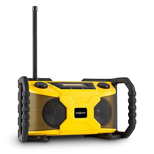 Preisvergleich Produktbild oneConcept Worksite Lautsprecher Outdoor-Lautsprecher Baustellenradio (DAB+, UKW, Bluetooth, MP3-fähiger USB-Port, stoßfestes spritzwassergeschütztes IP54-Kunststoffgehäuse) gelb