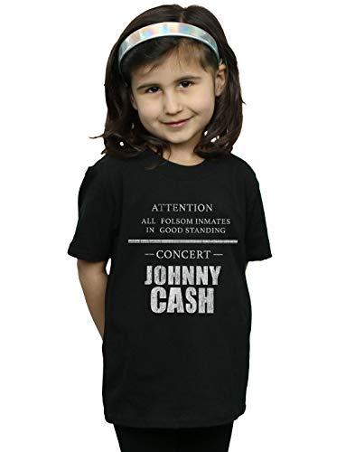Johnny Cash Mädchen Folsom Concert T-Shirt Schwarz 5-6 Years