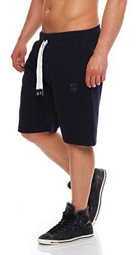 Gennadi Hoppe Herren Sweat Short Cotton Sweat Short Kurze Hose Bermuda Sweatpant Sport Shorts,blau,2XL