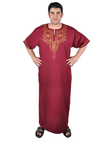 (Egypt Bazar Moderner Herren-Kaftan, Farbe: weinrot ((68) 5XL))