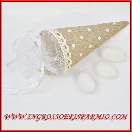 Kegel-Konfetti, Blütenblätter, Reis in Jute Color Havanna und weißen Punkten geschlossene-ein Tüll Weiß und Bändchen in Uni–Gastgeschenke Hochzeit, Hochzeit kit 12 pz. confetti rossi