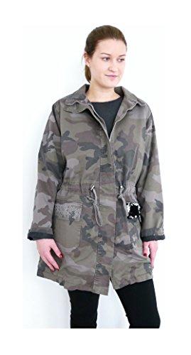 Lindsay warmer Parka Winterjacke Damen Mantel Jacke Teddyfell Wende Pailletten Nieten Zipper Military khaki oliv nato schlamm (8357) (L - 40, 42, cover-up)