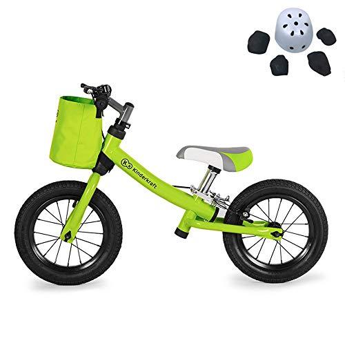 Laufrad Balance-Bikes, Balance-Auto Kinder Pedalless Zwei Rädern Kinderwagen Fahrrad Spielzeug Kauf Helm Schutzausrüstung Satz Zu Senden (Color : Green) (Kid-bike-helm-auto)