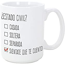 Tazas desayuno originales y divertidas - ¿Estado civil? - 350 ml - Tazas con frases de humor sarcástico