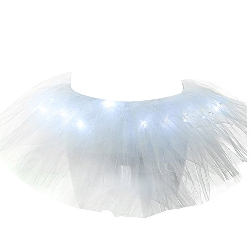 n Light Up Stage LED Dance Rave Mini Solid Tulle Ball Gown Tutu Skirt (Rave Tutus)