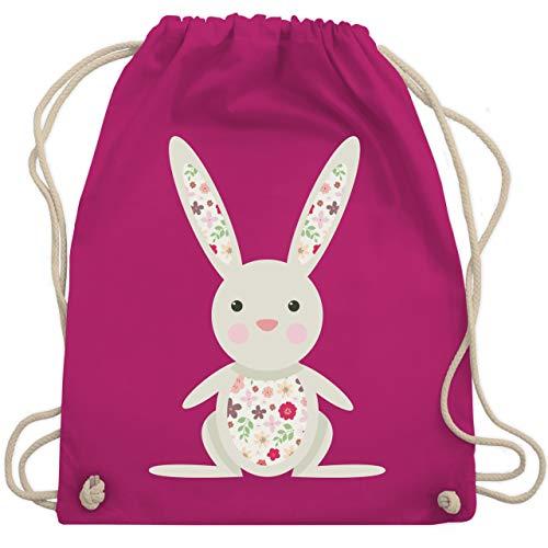 Tiermotive Kind - Süßer Hase - Frühlingstiere mit Blumen - Unisize - Fuchsia - WM110 - Turnbeutel und Stoffbeutel aus Bio-Baumwolle