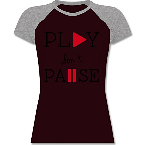 Statement Shirts - Play don't Pause - zweifarbiges Baseballshirt / Raglan T- Shirt