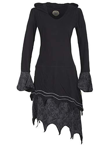 (Vishes - Alternative Bekleidung - Zipfeliges Lagenlook Design Elfenkleid Zipfelkapuze Spitze Bedruckt schwarz 46)