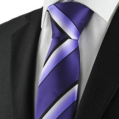 Handgemachte Weiß-gestreift Seide Krawatte (FYios®Gestreift Weiss Violett Schwarz Mens Krawatte Krawatte Formale Hochzeit Geschenk KT 1027, One-Size, One-Size)