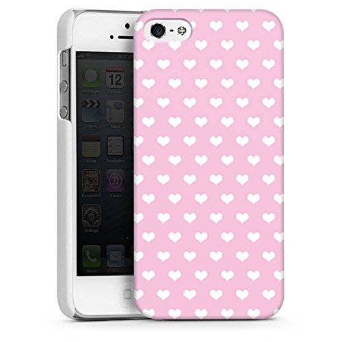 Apple iPhone 5s Housse étui coque protection Polka c½ur Rose Rose CasDur blanc