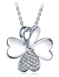 Colgante Plata mujer, Colgante Plata Corazón, Plata de Ley 925, Collar de plata con cadena de 42 cm, el regalo perfecto.