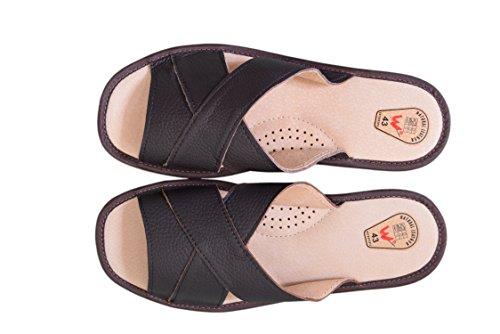 Herren Natur Leder Hausschuhe Sandalen Flip Flop 123 / Brown