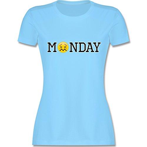 Statement Shirts - Monday Emoji - tailliertes Premium T-Shirt mit Rundhalsausschnitt für Damen Hellblau