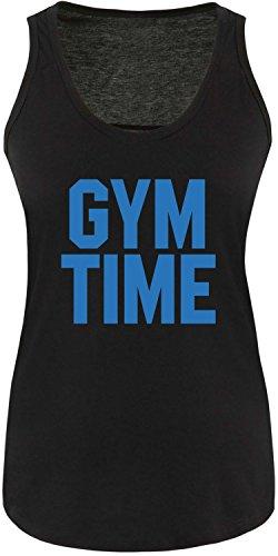 EZYshirt® Gym Time Damen Tanktop Schwarz/Blau