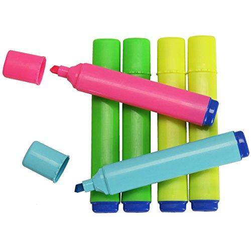 Textmarker 6er Pack ✓ Marker-Set mit verschiedene farbintensive Farben ✓ Leuchtstift in 2 x gelb...