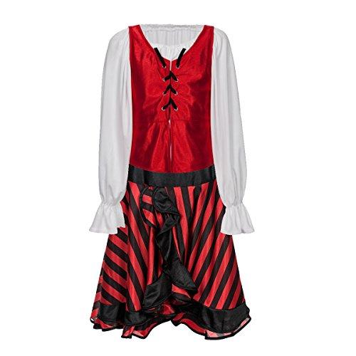 Kostümplanet Piraten-Kostüm Mädchen Piratin-Kostüm mit Piraten-Kopftuch Größe 128 (Mädchen Kostüme Piraten Ideen)