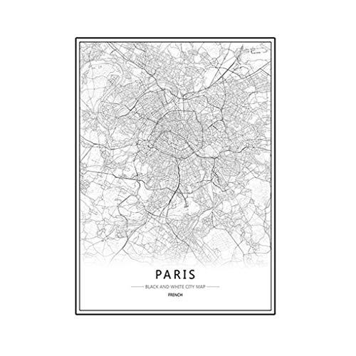 Zerama Londra New York Parigi Parete della Tela di Canapa Pittura World City Map Poster Estratto Bianco Nero a Olio Unframed Olio Disegno