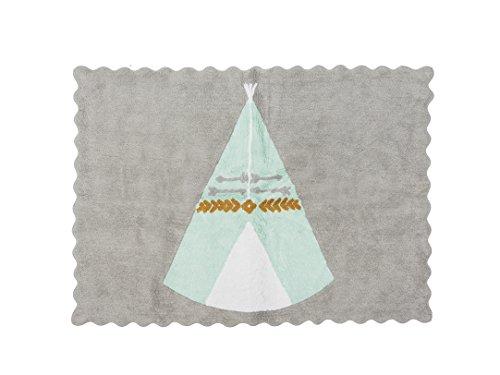 Ideenreich 2402Alfombra 100% algodón lavable, 120x 160cm, color turquesa
