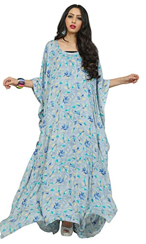 Justkartit Women's Floral Printed Long Ankle Length Rayon Cotton Printed Kaftans
