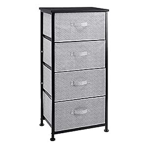 AmazonBasics Fabric 4-Drawer Storage Organizer Unit for Closet, Black